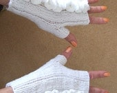 White Handknitted Fingerless Mittens, Women Mittens, Gloves