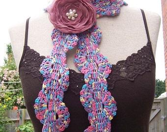 Crochet Skinny Scarf, Crochet Lariat, Women Crochet Scarf, Purple,Blue,Pink and Yellow Scarf, Handmade Scarf