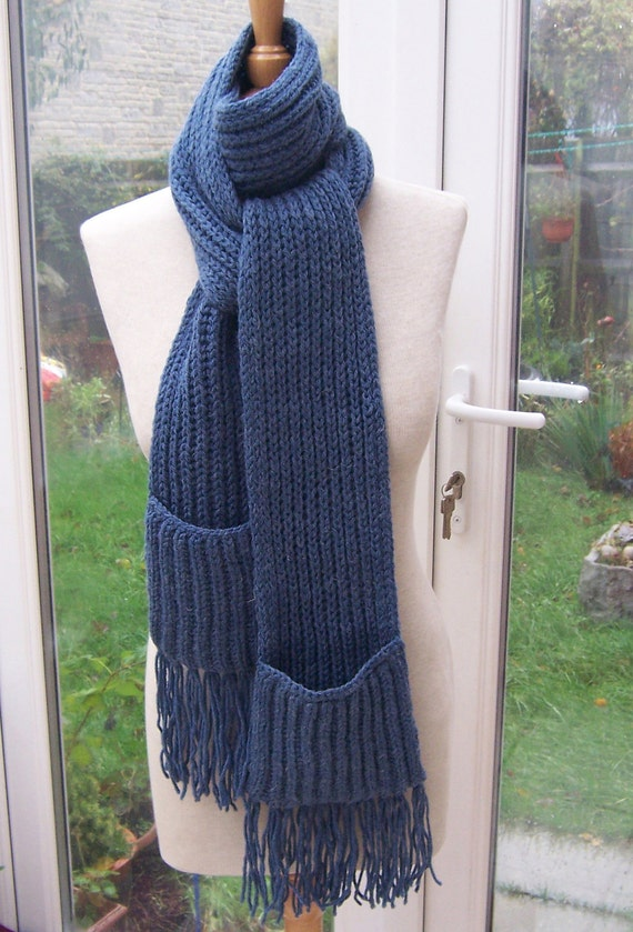 Hand Knitt Extra Long Scarf with Pockets, Unisex Scarf, Blue Scarf, Pockets Scarf, UK Seller