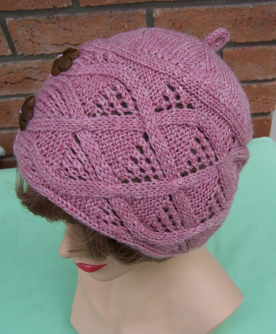 Hand Knitt Pink Cable Handknitted Hat with Vintage Buttons, Womens Hat, Beanie