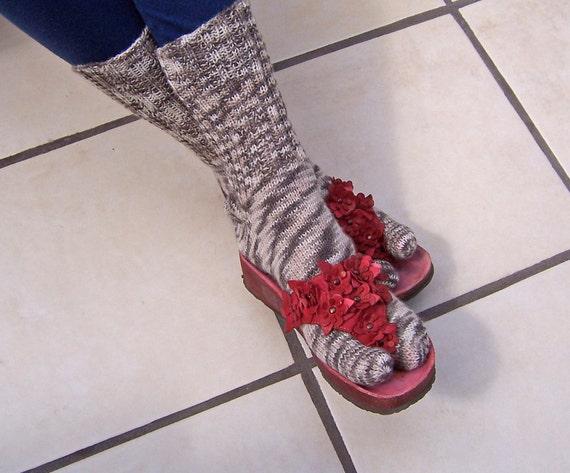 Hand Knit  Women Wool Thong Socks, Flip Flops socks, UK Seller