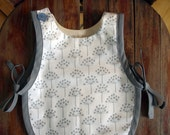 RESERVED FOR HOLLY Tie On Baby Smock in white&grey dandelion print