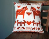 Dala Horse Red Swedish Printed Pillow - LilleputtStudio