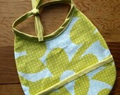 Mod Green and Blue Floral Bib with Pocket, Reversible