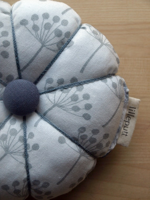 White and Grey Floral Fabric Pincushion