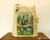 Alice in Wonderland Illustration Eco Cotton Tote Bag
