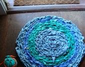 Crochet Rag Rug made from 100% Cotton Surgical Scrubs Eco Friendly Round Textile Art Centerpiece Dorm Nursery Kitchen