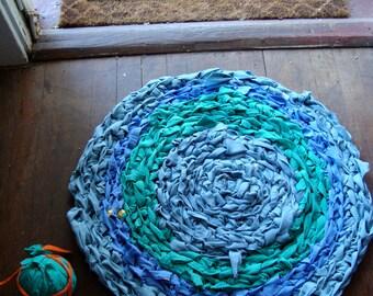 Crochet Rag Rug made from 100% Cotton Blue Green Eco Friendly Round Textile Art Dorm Nursery Kitchen Bath