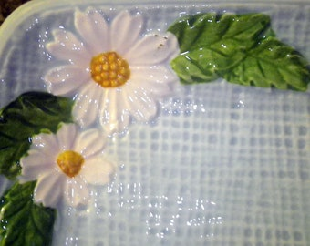 Appetizer Tray Blue Basketweave Cottage Chic Ceramic with White Daisies Vintage Dish Platter