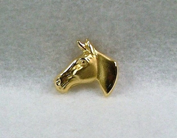 Vintage Horse's Head Brooch Pin Gold