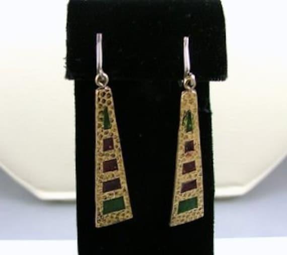 SALE SALE SALE Vintage Stained Glass Dangle Drop Earrings Clip On