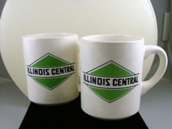 Vintage Illinois Central Coffee Cups Railroad Memorabilia