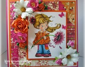Happy Daisy Handmade Card featuring Sylvia Zet for SCACD stamp, daisies, roses, pink and orange any occasion card