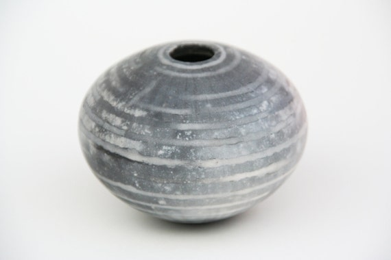 Grey Striped Ceramic Pot - Sawdust Fired