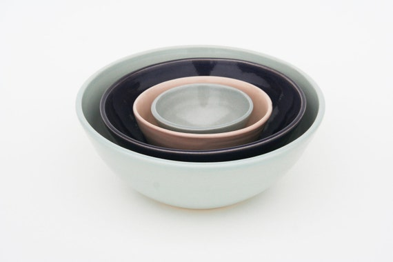 Nesting Ceramic Bowls Set - Celadon, Purple, Pink and Grey
