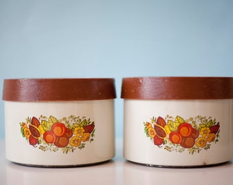 Vintage Metal Canisters, Lincoln Beautyware Canisters, Set of 2