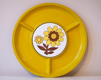 Vintage Serving Tray or Appetizer Tray, Yellow with Bright Flower