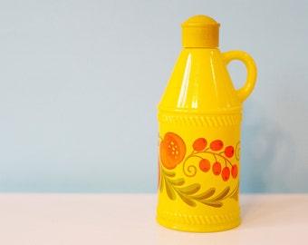 Vintage Avon Bottle, Pennsylvania Dutch Glass Bottle, Yellow With Orange Fruit