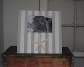 Large Tan and White Stripe Hand Painted Frame With Starfish -  5x7 - Can Be Made In ANY Colors