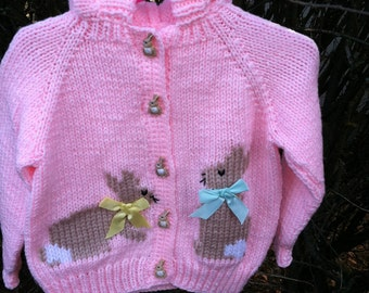 Hand knit child's hooded bunny sweater