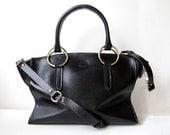 Black Madison Bag - Handstitched leather handbag