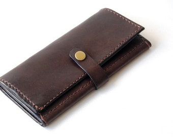 Chocolate Long Wallet - Handmade Leather Wallet