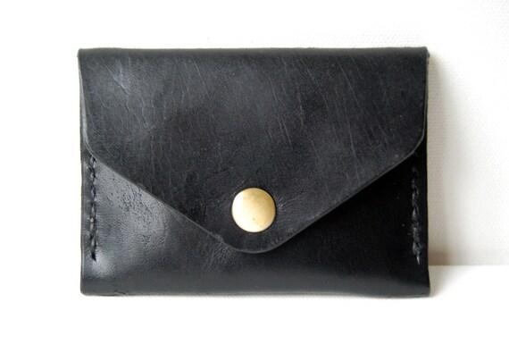 Black Card Holder - Handstitched leather wallet