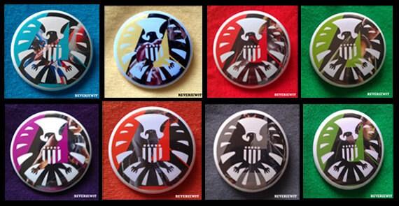 Set of 8 Avengers Marvel S.H.I.E.L.D. Buttons