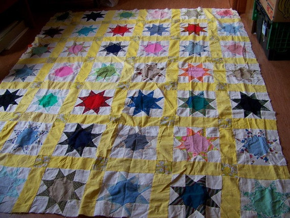 Vntage Yellow Hand Pieced Quilt Top Stars