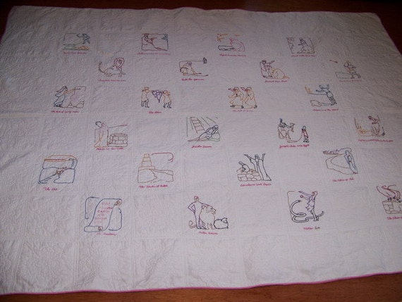 REDUCED Unusual Old Embroidered  Pictorial Bible Theme Quilt  64 x 84