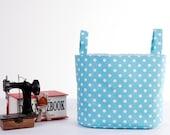 Medium Oval Fabric Storage Basket, Nursery Storage Hamper, Medium Fabric Bin, Toy Storage Bin, Supply Storage Basket, Blue Polka Dot
