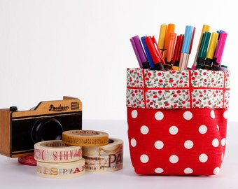 Mini Small Fabric Storage, Fabric Basket, Organizer, Fabric Bin, Red Polka Dots