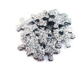 20 Silver Glittered Jigsaw Pieces Crafting Supplies