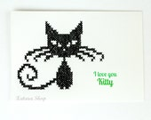 Cross stitch card. Embroidery cat wall art for framing with customizable message