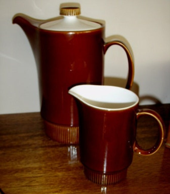 vintage POOLE Pottery ... COFFEE Pot and CREAMER ...