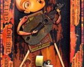 Music art print 5x7, Hot Guitarist: Guitar player collage with lighter, matches. Musician art, Punk rock art, Guitar wall art, Musician gift