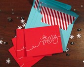 Be Merry holiday card 4 pack (red/turquoise)