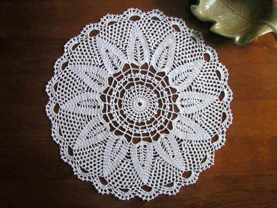 Crocheted White Doily - 14 inch round - FREE SHIPPING