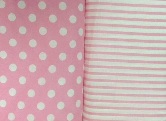 4 Yards Total...2 yds of Pink Polka Dot and 2 yds of Pink Stripe...More Yardage Available