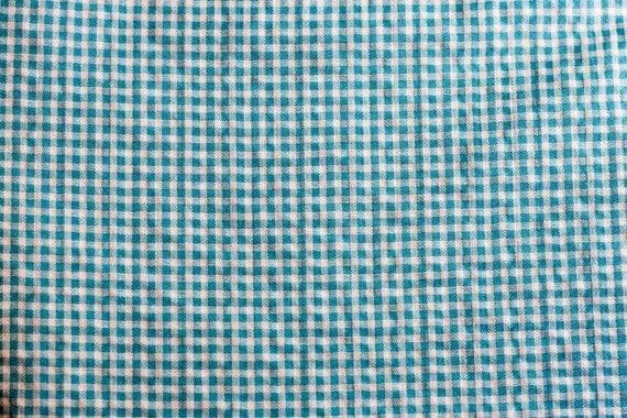 Turquoise Gingham Seersucker Fabric 1 yard...More Yardage Available