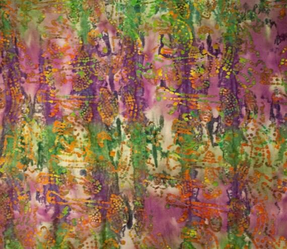 Cotton Batik - muli color dot pattern on multi color background - 1 yard (QB268)