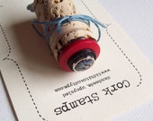 Upcycled Wine Cork Rubber Stamp Handmade Tree Vintage Button OOAK