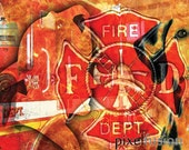Abstract Digital Fine Art Photography - Firefighter Tribute Print