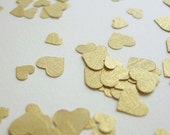 Heart-shaped Confetti - Die Cut Gold Textured Card- Wedding, Table Decoration, Scrapbooking, Favors, Invitations, Embellishments