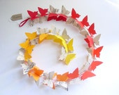 3D Butterfly Garland,Music Sheets,Red,Orange,Yellow,Butterfly Mobile,Baby Mobile,Nursery Decor,Crib Mobile,Baby Shower Gift,Paper,Upcycled