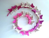 3D Butterfly Garland - Music Sheets & Purple Butterflies,Pink,Baby,Nursery Decor,Crib Mobile,Baby Shower Gift,Paper,Upcycled,Ombre