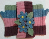 Forget Me Not Felted Wool Headwrap and Fingerless Mittens Set