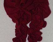 Deep Red Ruffled Rose Felted Cashmere Scarf