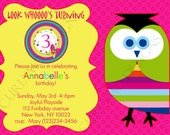 Girl's 3rd Birthday Printable Owl Invitation Card