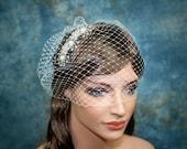 "12"" ivory birdcage veil with rhinestone hair comb"